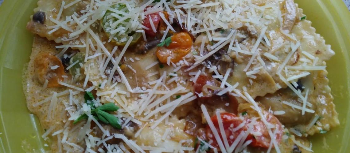 Creamiest Mushroom Ravioli finished plate